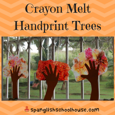 Fall Tree Crayon Melt Handprint Art