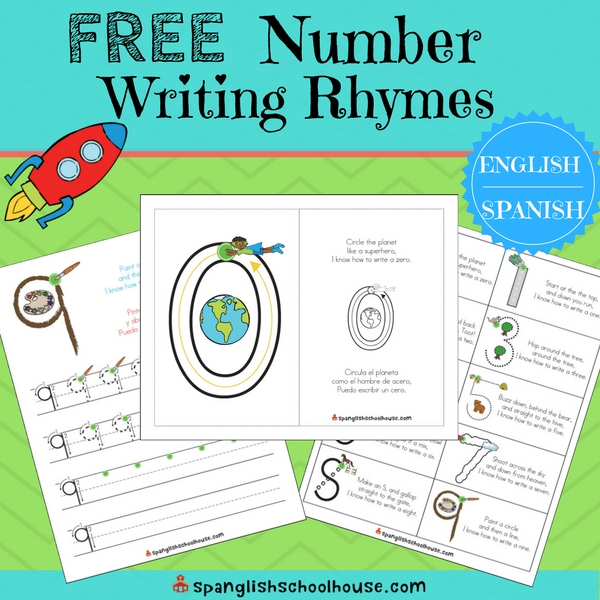 Free Bilingual Rhymes to Teach Number Formation