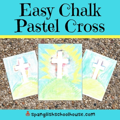 Easy Chalk Pastel Cross ~ Resurrection Art