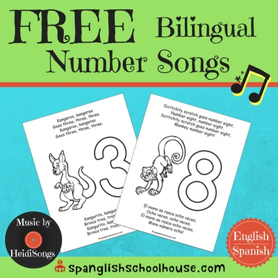 FREE Bilingual Number Song Printables {in English and Spanish}