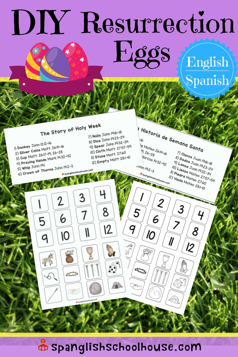 picture relating to Resurrection Egg Story Printable known as Do it yourself Resurrection Eggs in just Spanish - Spanglish Schoolhouse