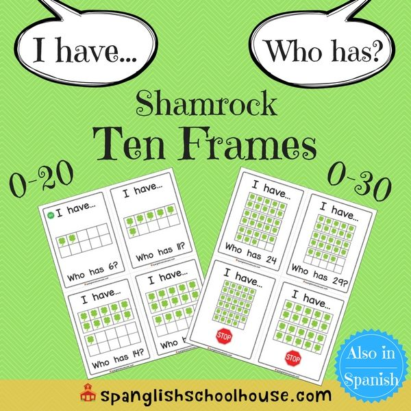 I have, Who has Shamrock Ten Frames-English Version