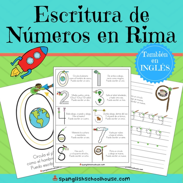 Spanish number writing poems to teach correct number formation in Spanish
