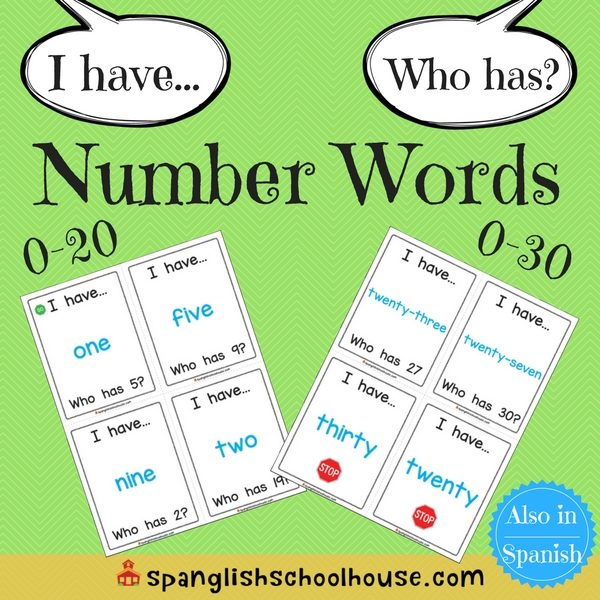 I have, Who has Number Words-English Version
