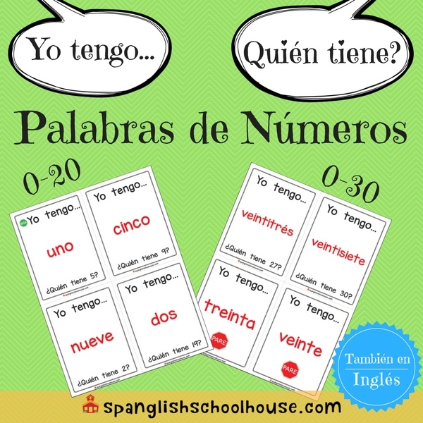 I have, Who has Number Words Spanish Version