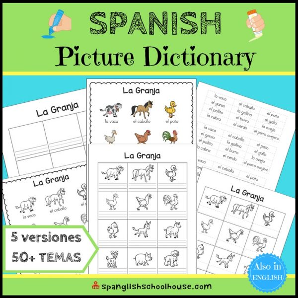 Spanish Picture Dictionary with five levels of differentiation