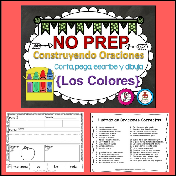 Build a Sentence Colors in Spanish