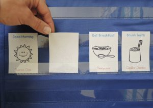 pocket chart visual morning routine in spanish
