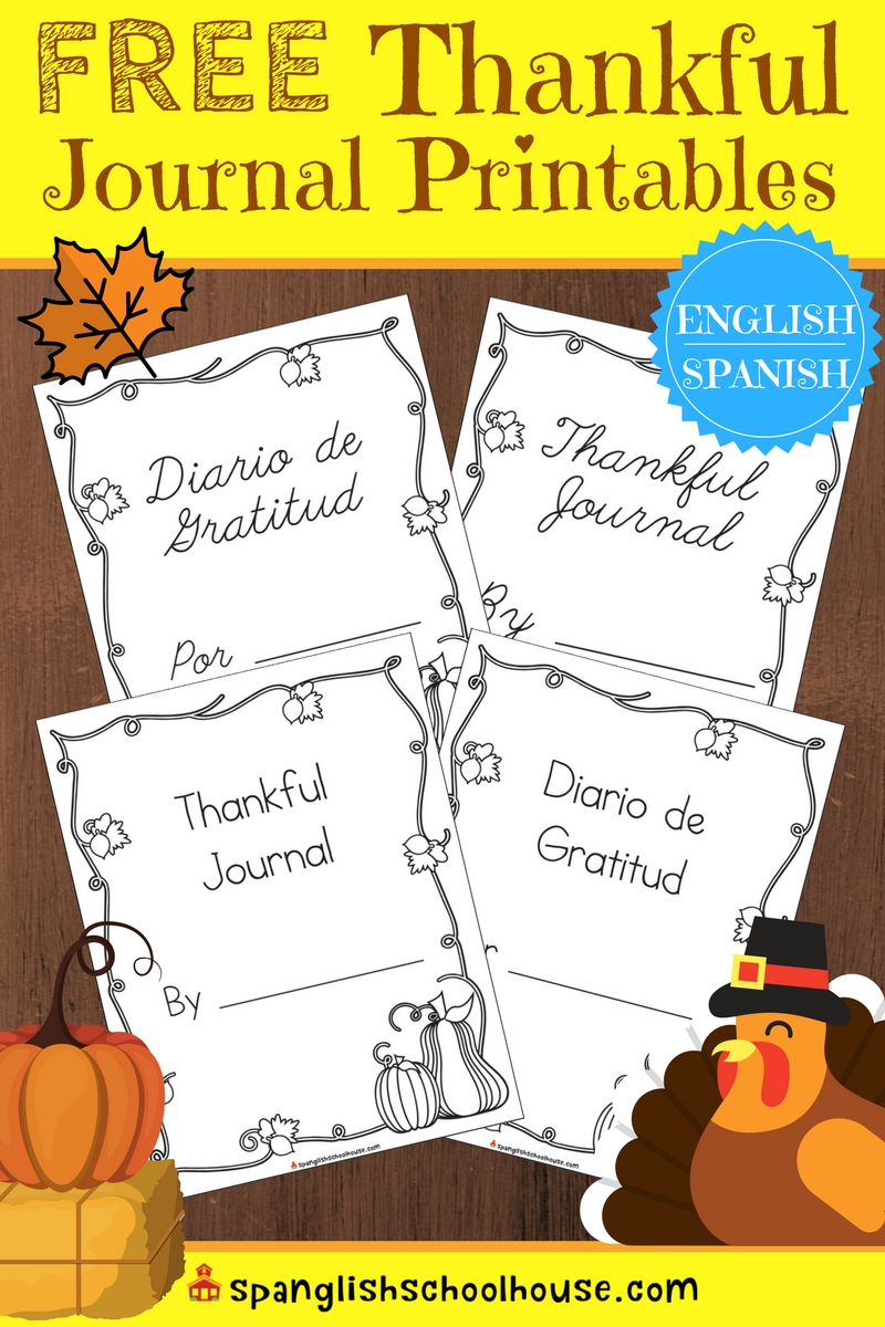 Spanish thankful journal pages that come in print and cursive