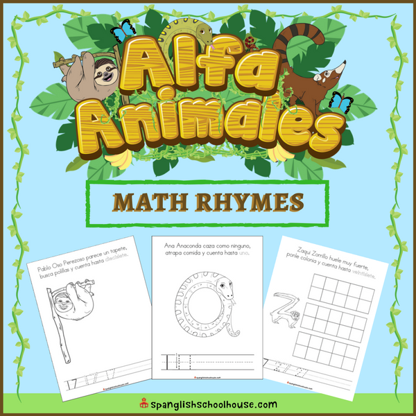 This Alfa Animales Math Rhyme Book is the perfect way to integrate rhyming and math concepts with Kindergarten Spanish learners.