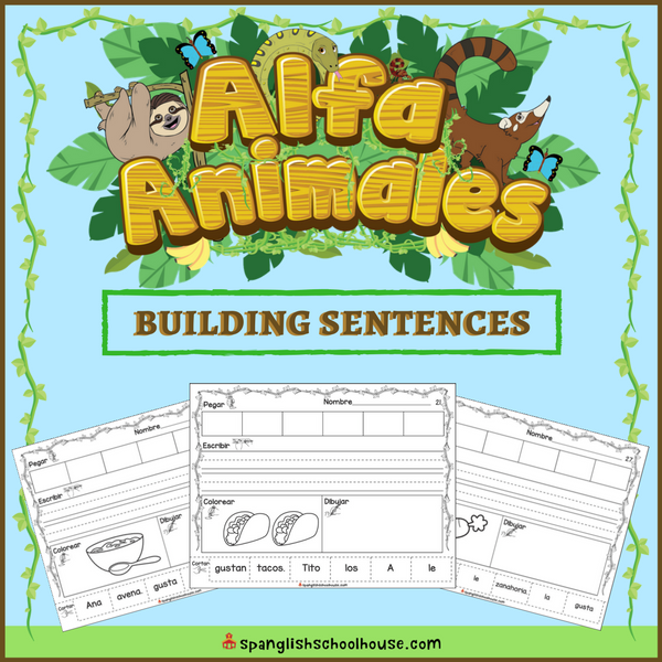 Alfa Animales Building Sentences are perfect for practicing grammar with Spanish Immersion Kindergarteners.