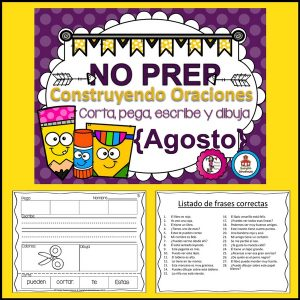 Spanish Sentence Building Back to School