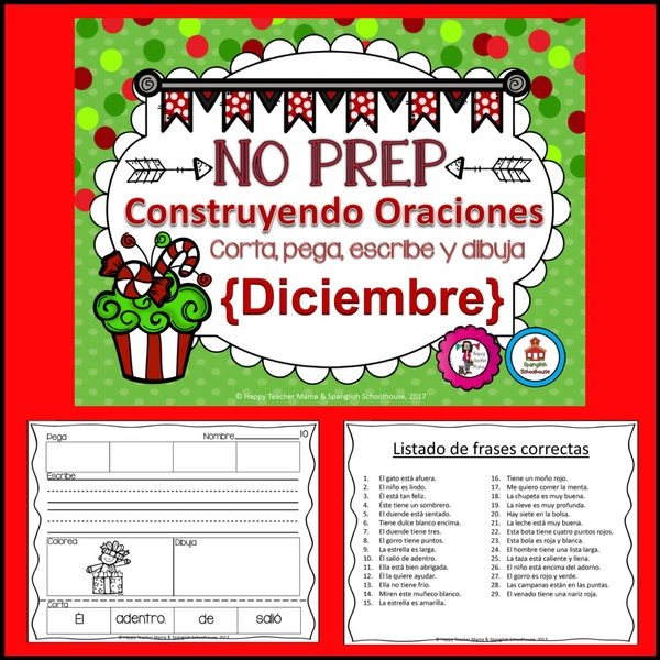 Christmas Sentence Building in Spanish