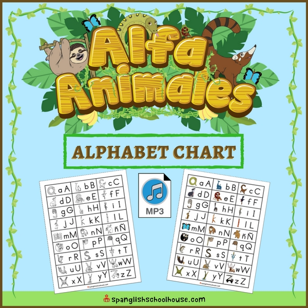 Alfa Animales Spanish Alphabet Chart And Mp  Spanglish Schoolhouse