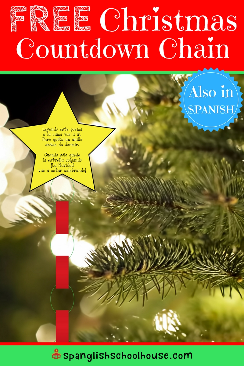 Simple Christmas Countdown Chain in Spanish