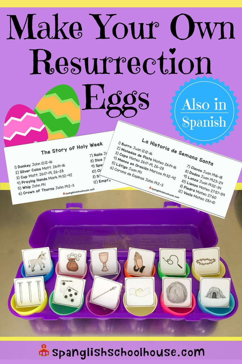 photograph about Resurrection Egg Story Printable called Do it yourself Resurrection Eggs inside of Spanish - Spanglish Schoolhouse