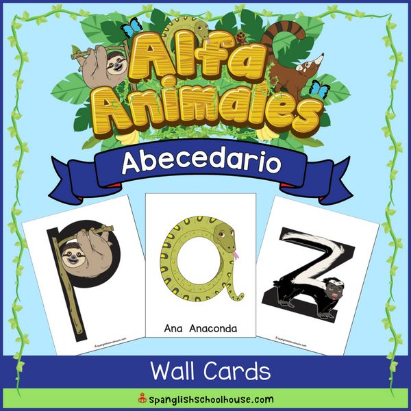 Alfa Animales Wall Cards are the perfect way to decorate your Spanish classroom!
