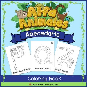 These adorable Alfa Animales coloring pages include QR codes in Spanish to teach children letter sounds.