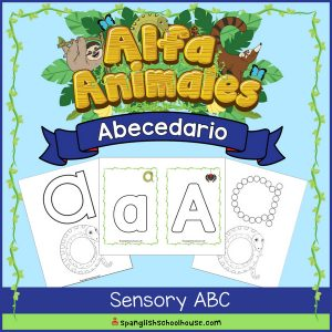 Alfa Animales Abecedario Sensory ABC Pack includes playdough cards and ideas to make a tactile Spanish Alphabet book.
