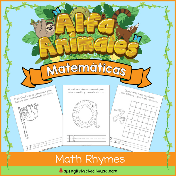 Practice the Spanish Alphabet and math skills with the Alfa Animales Math Rhyme Book!