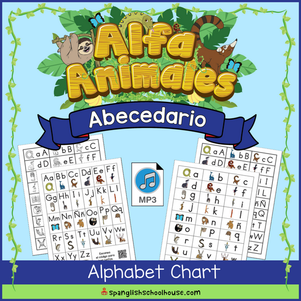 Tabla de Abecedario - Spanish Alphabet Chart featuring the Alfa Animales