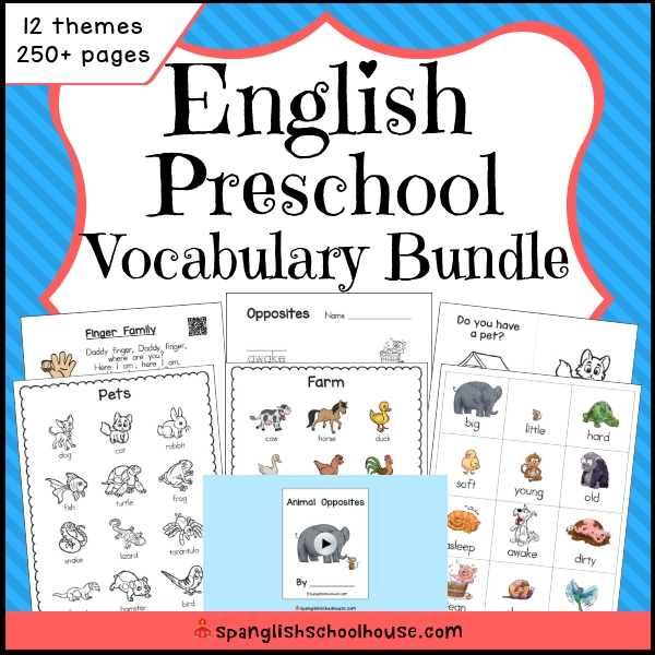 English Preschool Vocabulary Bundle