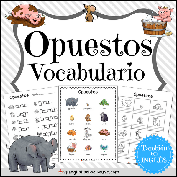 Spanish opposite words vocabulary