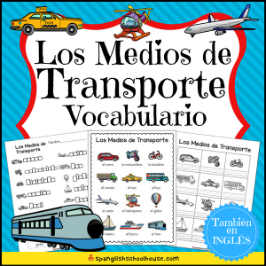Spanish Transportation Vocabulary - Los Medios de Transporte Vocabulario