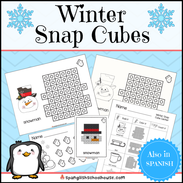 Winter Snap Cube Center for Kindergarten and First Grade