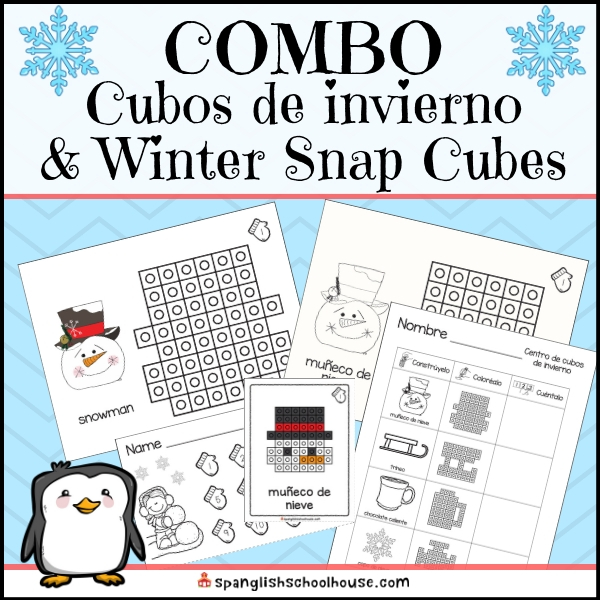 Winter snap cube centers are perfect for your dual language kindergarten and first grade dual language classroom.