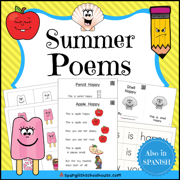 Interactive Summer Poems for Preschool use QR Code videos to help children read along.