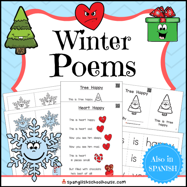 Interactive Winter Poems use QR Code videos to help children read along.