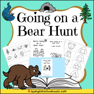 Going on a Bear Hunt Preschool Printables include a Mini-Book, QR code video of the story, bear shape match, and story sequencing page